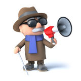 3d Blind man using a megaphone Stock Photo