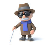 3d Blind man walking with a cane. 3d render of a visually impaired senior citizen using a stick to guide his way Royalty Free Stock Photos