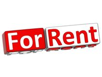 3D Block Button For Rent text. Over white background Royalty Free Stock Image