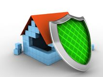 3d block house. 3d illustration of block house over white background with shield Stock Images