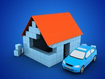 3d block house. 3d illustration of block house over blue background with car Royalty Free Stock Photo