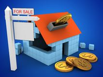 3d block house. 3d illustration of block house over blue background with coins and sale sign Stock Image
