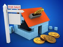3d block house. 3d illustration of block house over blue background with coins and sale sign Royalty Free Stock Image