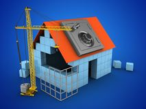 3d block house. 3d illustration of block house over blue background with safe and construction site Royalty Free Stock Image