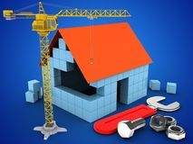 3d block house. 3d illustration of block house over blue background with wrench and crane Royalty Free Stock Photo