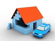 3d block house. 3d illustration of block house over white background with car Royalty Free Stock Photo
