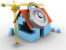 3d block house. 3d illustration of block house over white background with code lock and crane Stock Photos