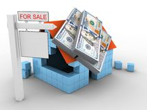 3d block house. 3d illustration of block house over white background with money and sale sign Stock Photo