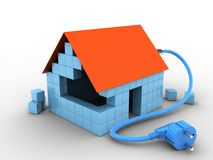 3d block house. 3d illustration of block house over white background with power cable Stock Photo