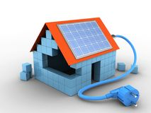 3d block house. 3d illustration of block house over white background with solar power Stock Image