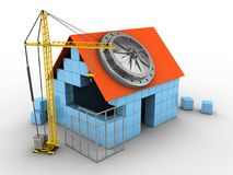 3d block house. 3d illustration of block house over white background with vault door and construction site Stock Photo