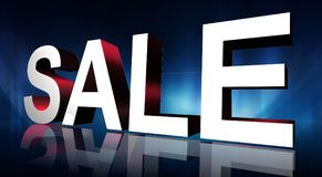 Sale graphic. 3D block letters sale in white and red on blue background with reflection Stock Photo