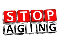 3D Block Red Text STOP AGING over white background. vector illustration
