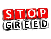 3D Block Red Text STOP GREED over white background. Royalty Free Stock Photo