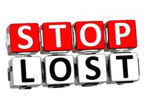 3D Block Red Text STOP LOST over white background. 3D Block Red Text STOP LOST over white background Stock Images
