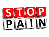 3D Block Red Text STOP PAIN over white background. 3D Block Red Text STOP PAIN over white background Stock Photos