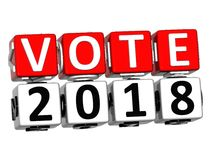 3D Block Red Text VOTE 2018 over white background. Royalty Free Stock Image