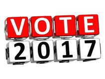 3D Block Red Text VOTE 2017 over white background. Royalty Free Stock Images