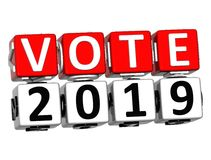 3D Block Red Text VOTE 2019 over white background. Royalty Free Stock Photography