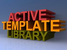 Active template library. 3D block text graphics active template library on purple background Stock Photography