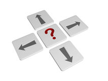 Question-mark sign with arrows in different directions. 3d blocks with red question-mark sign and grey arrows in opposite directions, concept image Stock Images