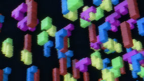 3d blocks from tetris. 3d rendering of 3d blocks from tetris vintage game on a faded screen with tv noise Royalty Free Stock Photos