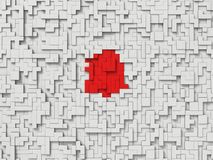 3d blocks. White blocks and red block on center Stock Images