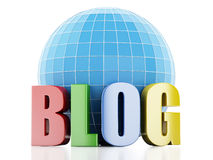 3d blog and globe on white background Stock Images