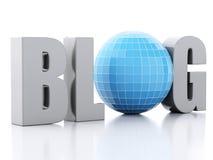 3d blog i kula ziemska na białym tle royalty ilustracja