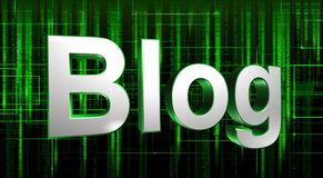 3D Blog Sign. A 3D blog screen on a green and black background Royalty Free Stock Photography