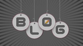 3d Blog text hanging on the strings. Creative concept Stock Image