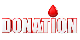 3d blood drop and donation text. 3d render of blood drop and donation text Royalty Free Stock Photo