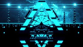 3D Blue Abstract Triangles Tunnel VJ Loop Background stock footage