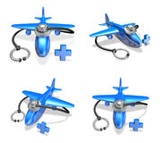 3d Blue airplane and stethoscope array Royalty Free Stock Images