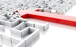 3d Blue arrow breaking down the walls in the maze. 3d illustration. Arrow breaking down the walls in the maze. Unexpected solutions concept. Isolated white Stock Photos