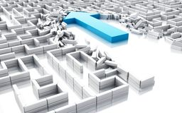 3d Blue arrow breaking down the walls in the maze. 3d illustration. Blue arrow breaking down the walls in the maze. Unexpected solutions concept. Isolated white Royalty Free Stock Photo