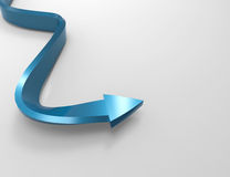 3d blue arrow. On gray Royalty Free Stock Photo