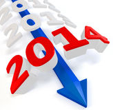 3D blue arrow with year 2014. On a white background Stock Illustration
