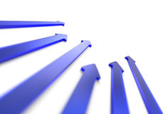 3d blue arrows. Illustration of blue 3d arrows receding into distance on a white background Stock Photo