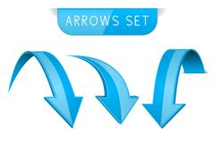 3d blue arrows set. Vector illustration isolated on white background Royalty Free Stock Image