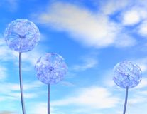 3d blue background with cloudy sky and dandelions. Stock Photography