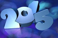 2015 in 3D on blue background. Number 2015 in 3D on blue background - New Year - Christmas Card Stock Image