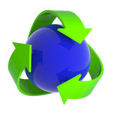 3d Blue ball recycle symbol Stock Photo