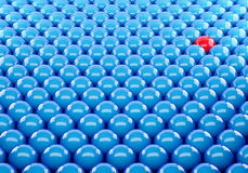 3d blue ball Stand out of a crowd. Individuality Royalty Free Stock Photography