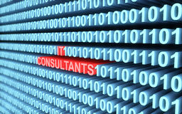 3d blue binary code with word IT Consultants Royalty Free Stock Photos