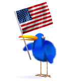 3d Blue bird with an American flag. 3d render of a blue bird holding the American flag Royalty Free Stock Images