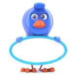 3d Blue bird with a blank banner. 3d render of a blue bird holding a banner Stock Photo