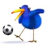 3d Blue bird football. 3d render of a blue bird playing football Royalty Free Stock Images