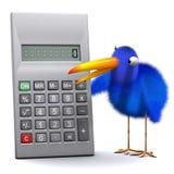 3d Blue bird has a calculator. 3d render of a blue bird with a calculator Royalty Free Stock Images
