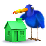 3d Blue bird has a green house Stock Photo